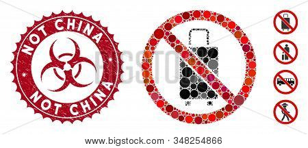 Collage No Baggage Icon And Corroded Stamp Seal With Not China Text And Biohazard Symbol. Mosaic Vec