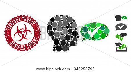 Mosaic Say Yes Icon And Rubber Stamp Seal With Serious Threat Phrase And Biohazard Symbol. Mosaic Ve