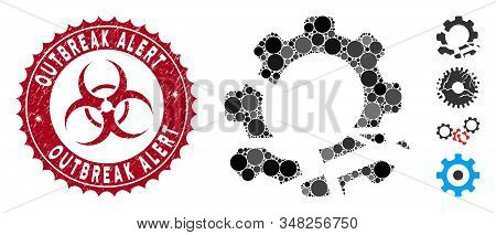 Mosaic Gear Destruction Icon And Distressed Stamp Seal With Outbreak Alert Phrase And Biohazard Symb