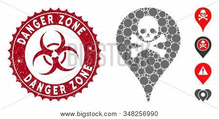 Mosaic Danger Zone Map Marker Icon And Grunge Stamp Watermark With Danger Zone Text And Biohazard Sy
