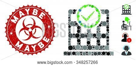 Mosaic Office Use Only Icon And Rubber Stamp Seal With Maybe Phrase And Biohazard Symbol. Mosaic Vec