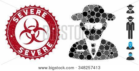 Mosaic Secure Agent Icon And Rubber Stamp Watermark With Severe Caption And Biohazard Symbol. Mosaic