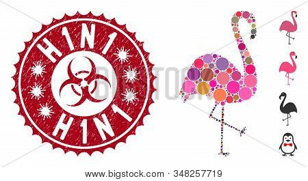Collage Flamingo Bird Icon And Rubber Stamp Seal With H1n1 Caption And Biohazard Symbol. Mosaic Vect