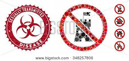 Mosaic No Bastion Icon And Corroded Stamp Seal With Sexually Transmitted Disease Caption And Biohaza