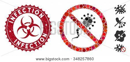 Mosaic No Infection Icon And Distressed Stamp Seal With Infection Caption And Biohazard Symbol. Mosa