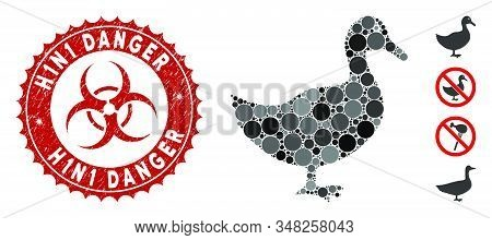 Mosaic Duck Icon And Rubber Stamp Seal With H1n1 Danger Text And Biohazard Symbol. Mosaic Vector Is