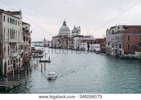 Canale Grande In Venice, Italy In Winter - View From Ponte Dell Accademia Bridge With Santa Maria De