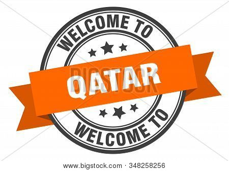 Qatar Stamp. Welcome To Qatar Orange Sign