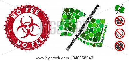 Mosaic No Fee Icon And Rubber Stamp Seal With No Fee Phrase And Biohazard Symbol. Mosaic Vector Is F