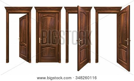Closed And Open Brown Wooden Doors Isolated On White. Oak Natural Hard Wood Entrance With Arched Pan