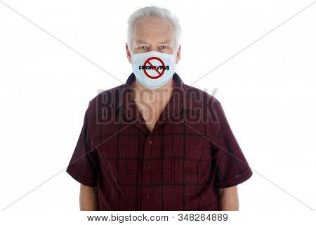 Coronavirus. 2019-nCoV. 2019 Novel Coronavirus. A man wears a face mask with the international NO Symbol and the word Coronavirus. isolated on white. room for text. clipping path. stay protected.