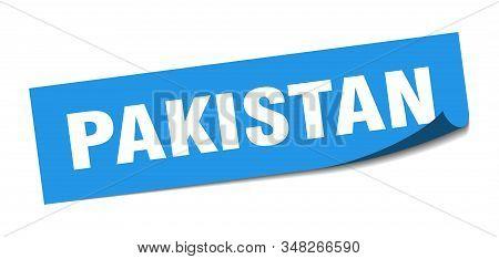 Pakistan Sticker. Pakistan Blue Square Peeler Sign