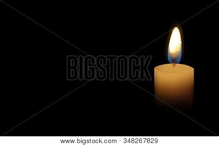 Candle Light Illustration, Isolated On Black Background, Burning Candle - Vector