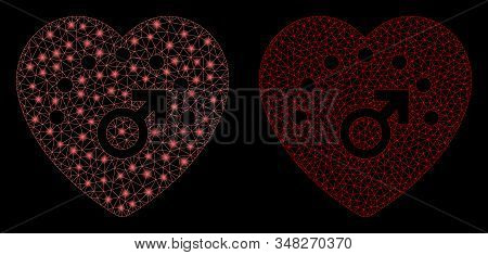 Glossy Mesh Love Meter With Lightspot Effect. Abstract Illuminated Model Of Love Meter Icon. Shiny W