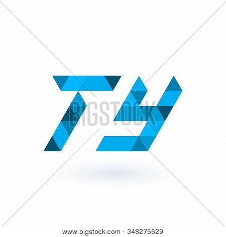 Initial Geometric Triangle Pixel Letters Ty, Business Identity Element. Stock Vector Illustration Is