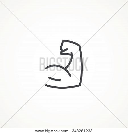 Flexing Bicep Muscle Arm Strength Or Power Line Editable Strok Vector Icon For Exercise. Biceps Musc