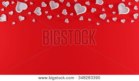 Valentines Day Red Background With Red Hearts On Top. Valentines Day Concept. Top View. Romantic Bac