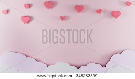 Light Pink Background With Paper Clouds And Pink Hearts. Valentine's Day And Baby Birth Background C