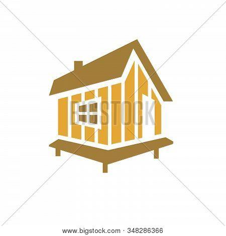 Simple Modern Log Woods Cabin Logo Design Vector Illustration