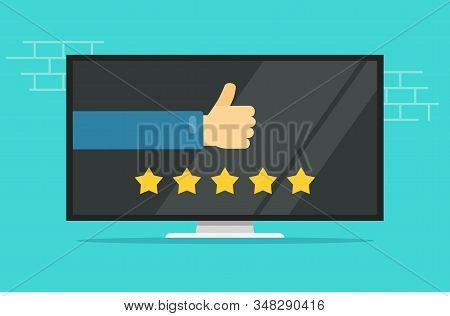Reviews Rating Or Testimonials Feedback Online On Computer Or Tv Screen Vector Flat Cartoon, Concept