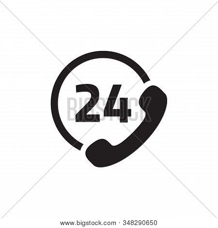 Call 24 Icon Vector Illustration, 24 Hour Call Service, Twenty Four Hour Service Flat Design, 24h Su