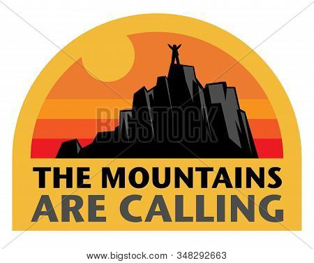 Adventure Logo Badge Design. Wilderness Exploration Concept Sign. Hiking Sign, Text - The Mountains