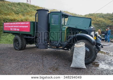 Kronshtadt, Russia - September 04, 2016: Soviet Gas-generating Retro Truck Powered By Wood Zis-21 On