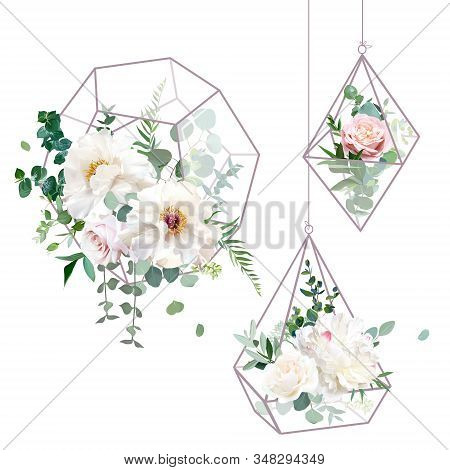 Flower Geometric Glass Hanging Terrarium Vector Design Objects. Wedding Flowers Bouquets. Creamy Whi