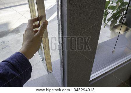 Closeup Women Hand Open The Door Knob, Stock Photo