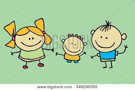 Cute Cartoon Kids, Girl And Boy, Vector Illustration. T-shirt Graphic. Cartoon Character.