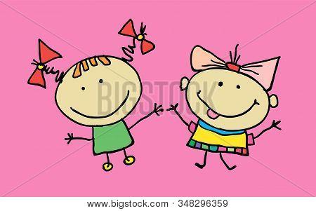 Hand Drawn Beautiful Cute Cartoon Little Girls Best Friends. Vector Illustration. T-shirt Graphic. C
