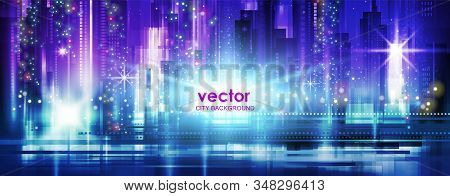 Night City Background, With Glowing Lights, Illustration With Architecture, Skyscrapers, Megapolis,