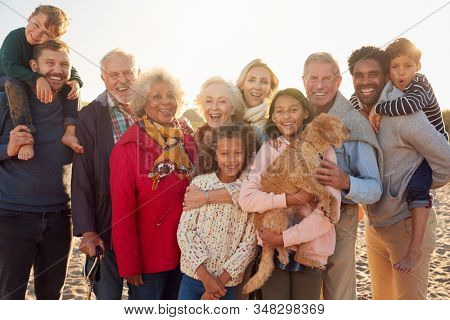 Portrait Of Multi-Generation Family Group With Dog On Winter Beach Vacation