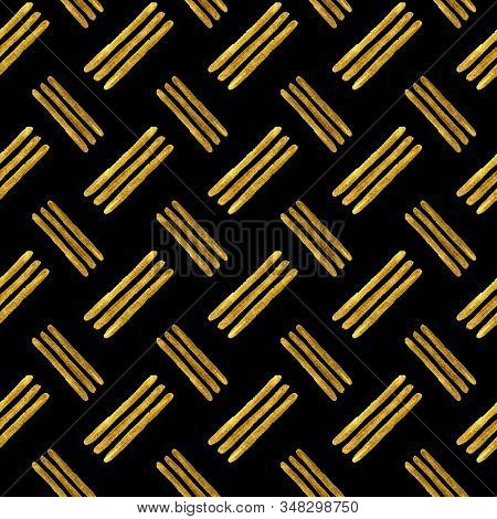 Gold Line Pattern, Abstract Golden Stripe Seamless Background. Golden Foil Or Shiny Glitter Paint Te