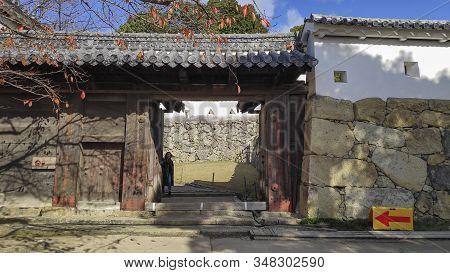 Himeji, Japan- 30 Nov, 2019: Castle Gate Of Himeji Castle In Hyogo, Japan. Himeji Castle Is The Larg