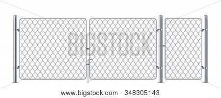 Wired Fence Or Chain Link Fencing, Chainlink Metal Construction For Concert, Steel Barrier For Secur