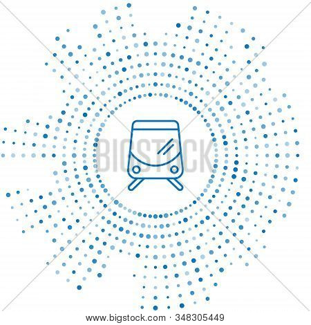 Blue Line Tram And Railway Icon Isolated On White Background. Public Transportation Symbol. Abstract