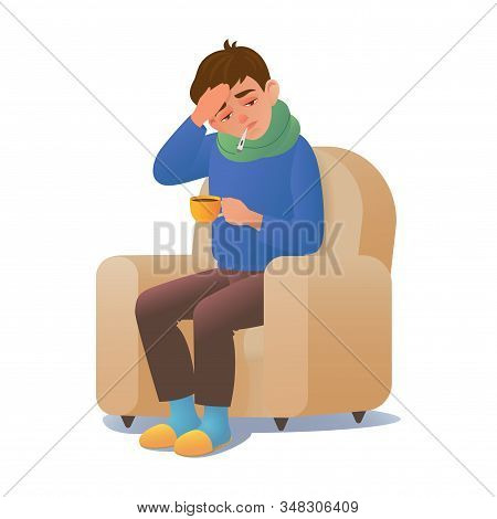 Sick Man With A Cold Disease Sitting In A Chair With A Thermometer. Vector Illustration Sick Man Wit