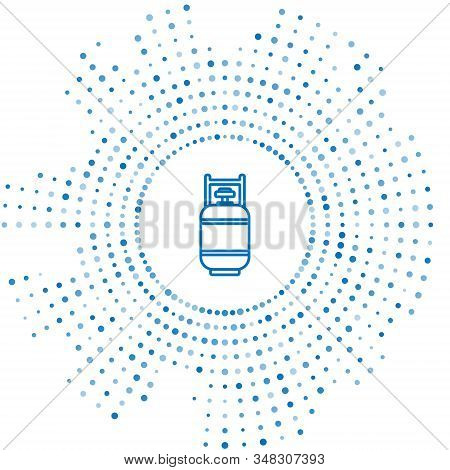 Blue Line Propane Gas Tank Icon Isolated On White Background. Flammable Gas Tank Icon. Abstract Circ