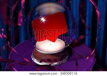 Magic Ball Fortune Teller With Speech Bubble Inside On Violet Cloth, 3d Rendering. Copy Space. Empty