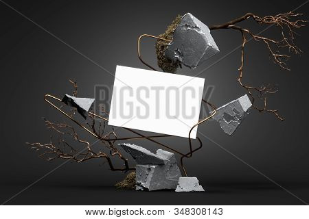 Blank Poster On Abstract Geometric Figures Made From Stone And Branches On Black Background. 3d Rend
