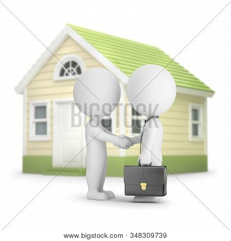3d Small Person Buys A House. Deal Between Two People. 3d Image. White Background.