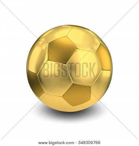 3d Golden Soccer Ball. 3d Image. White Background.