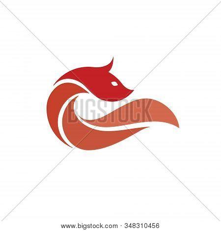 Fox Logo Fire Fox Animal Wild Mammal Vector Predator Tail Orange Fur Cartoon Silhouette Clever Hunt