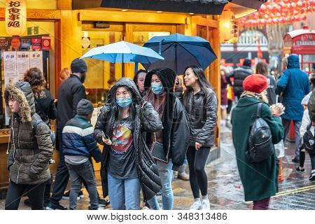 London, January 26, 2020. People Wearing A Face Masks To Protecting Themself Because Of Epidemic In