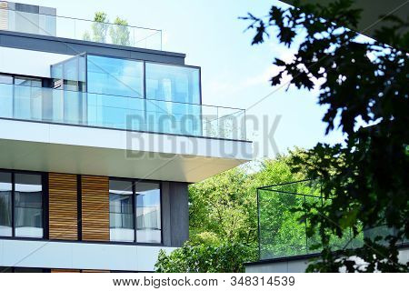 European Modern Residential Architecture. Fragment Of A Modern Apartment Building In Front. Very Mod
