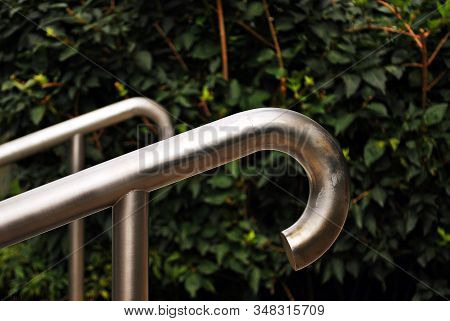 Chromium Metal Fence With Handrail. Chrome-plated Metal Railings. Shallow Depth Of Field. Selective