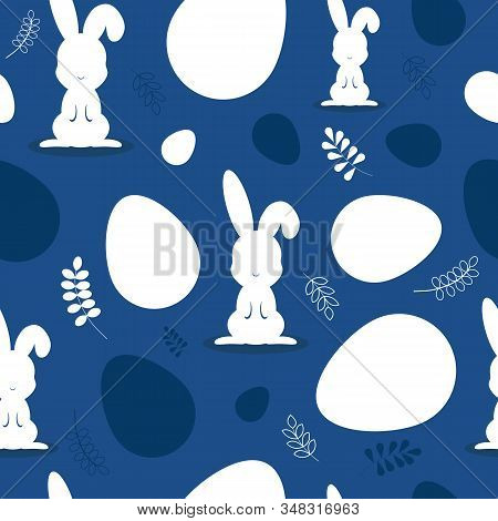 Easter pattern classic blue. Happy easter vector seamless pattern.Happy Easter, easter bunny, easter background, easter banners, easter flyer, easter design. Eggs classic blue. Easter background, banners, easter classic blue pattern. Vector illustaration