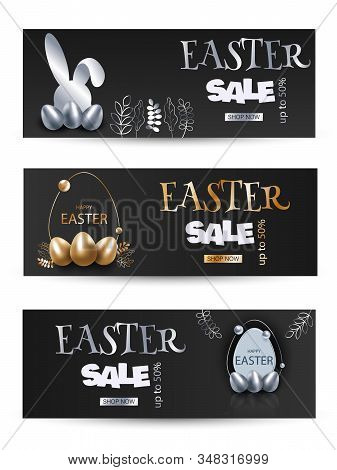 Happy Easter Illustration holiday- Gold, silver Rabbit Bunny on black Background. Happy Easter holiday, bunny, easter background, easter design. Happy Easter, easter bunny, easter background, easter banners, easter flyer, easter design holiday. Vector ill