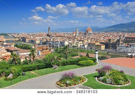 Overview Of Firenze From Piazzale Michelangelo Italy.